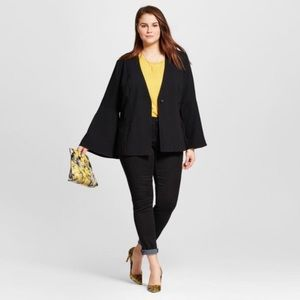 Who What Wear Black Blazer Bell Sleeve Medium